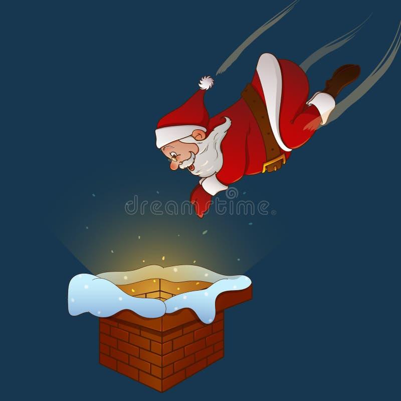 Santa Claus jumps to the chimney vector illustration