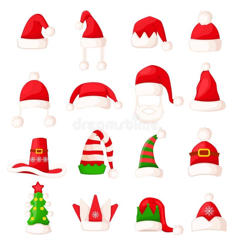 Santa Claus kapeluszu set Duża wektorowa kolekcja royalty ilustracja