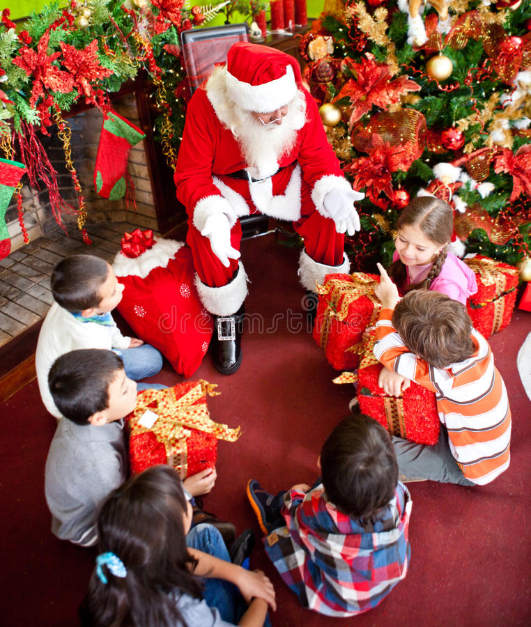 Download Santa Claus with the kids stock image. Image of claus - 22218443