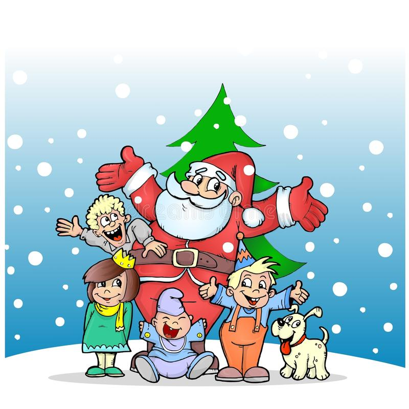 Santa Claus with kids and dog. Santa Claus with kids, new year greeting card illustration stock illustration