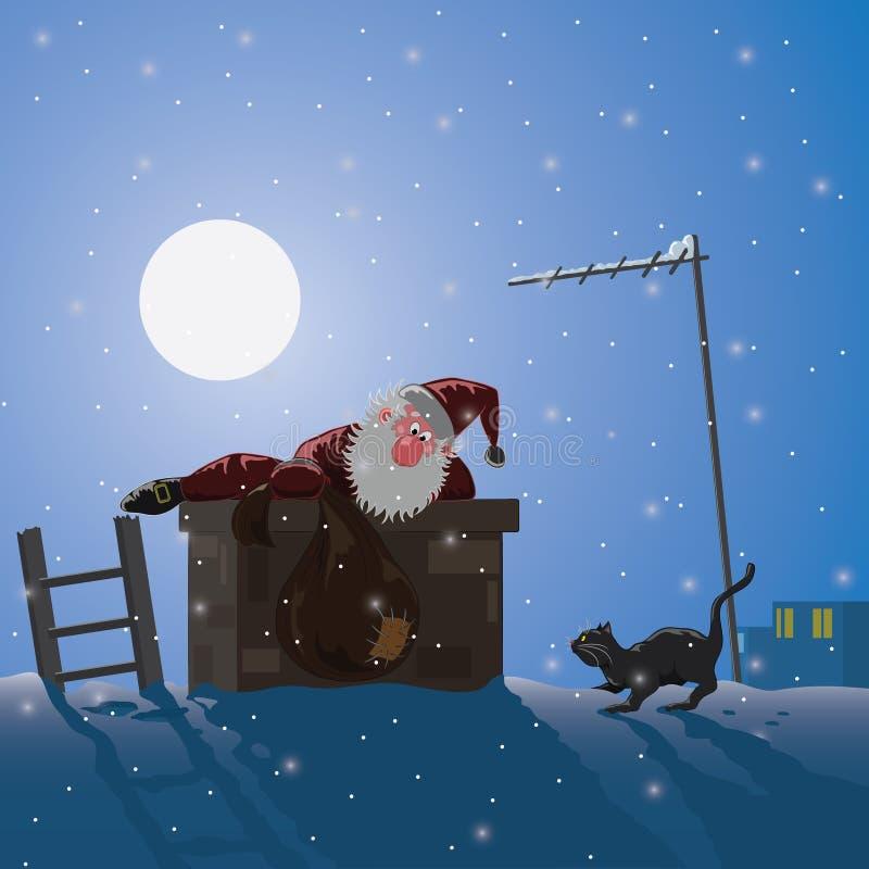 Santa Claus klättringar på natten till och med ett rör royaltyfri illustrationer
