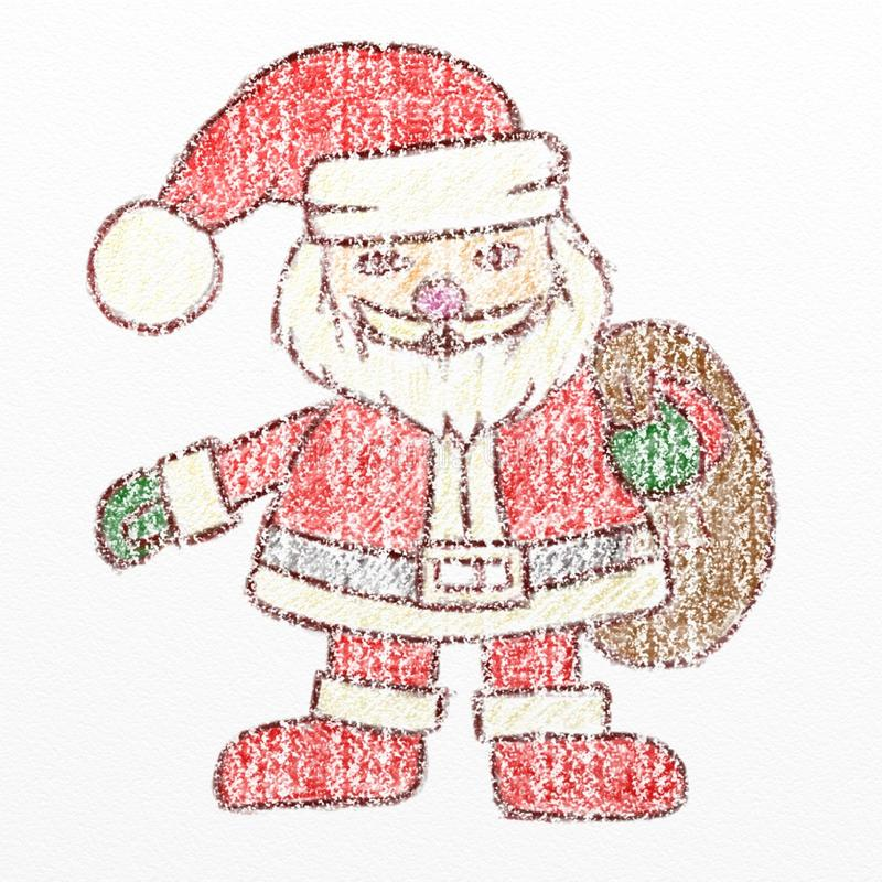 Santa Claus-kleurpotloodtekening, jonge geitjes het trekken vector illustratie