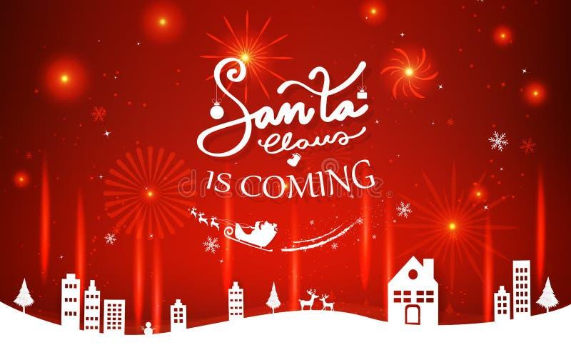 Santa Claus kommer, beröm, fyrverkerier, glad jul a stock illustrationer