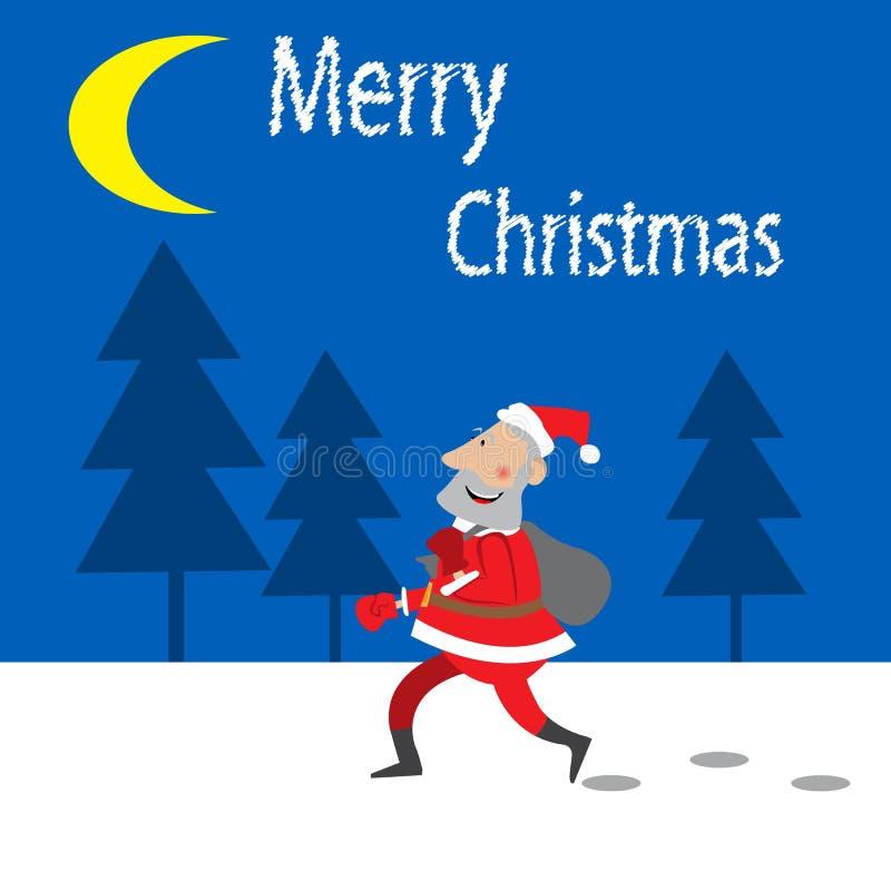 Santa Claus komt op het nachtbos vector illustratie