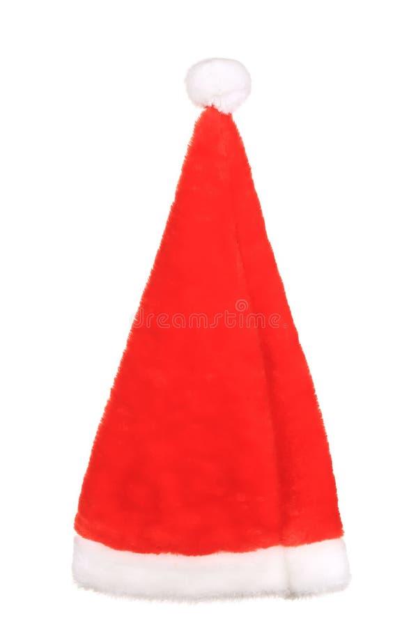 Santa Claus konisk röd hatt. royaltyfria foton