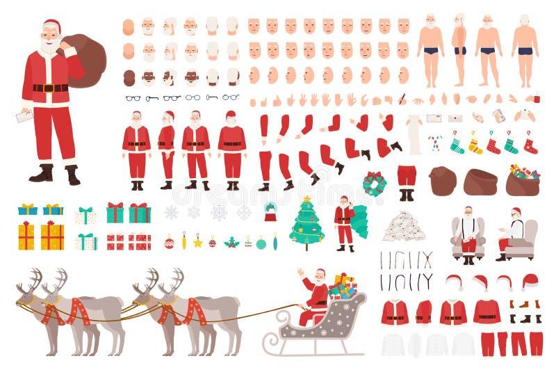 Santa Claus konstruktör eller DIY-sats Samling av kroppsdelar för jultecknad filmtecken, kläder, ferieattribut royaltyfri illustrationer