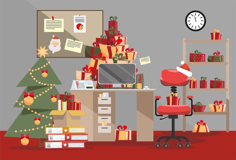 Santa Claus kontor med berget av gåvor Högar av närvarande askar med band och bunten av dokument ligger på tabellen, golvet, hyll vektor illustrationer