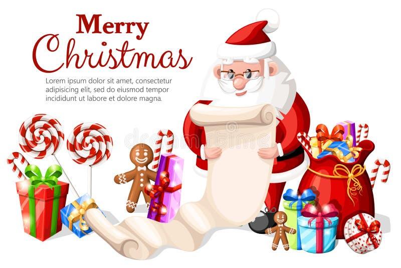 Santa Claus kontrollerande lista med den olika gåvaasken en påse med gåvaklubbor och pepparkakaillustration med stället för royaltyfri illustrationer