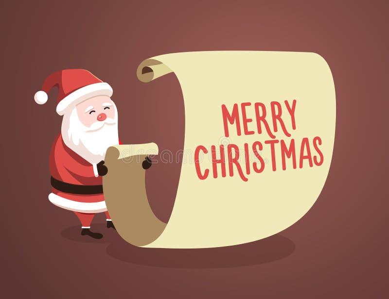 Santa Claus kontrollerande lista med meddelandet för glad jul också vektor för coreldrawillustration stock illustrationer