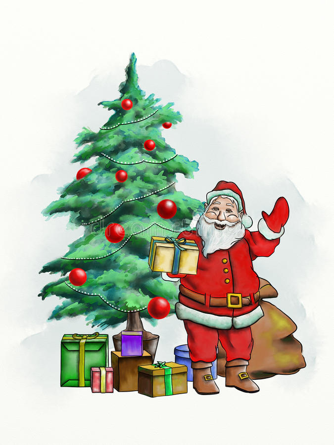 Santa Claus kort royaltyfri illustrationer