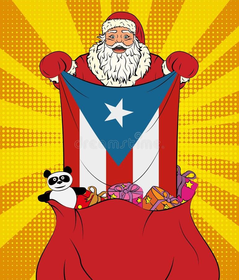Santa Claus krijgt nationale vlag van Puerto Rico uit de zak met speelgoed in pop-artstijl Illustratie van nieuw jaar in pop-arts stock illustratie