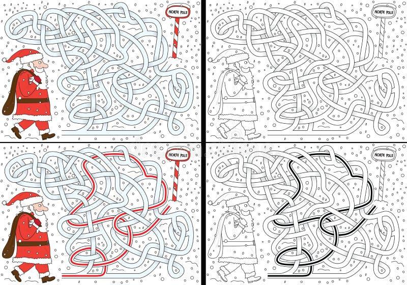 Santa Claus labyrint vektor illustrationer