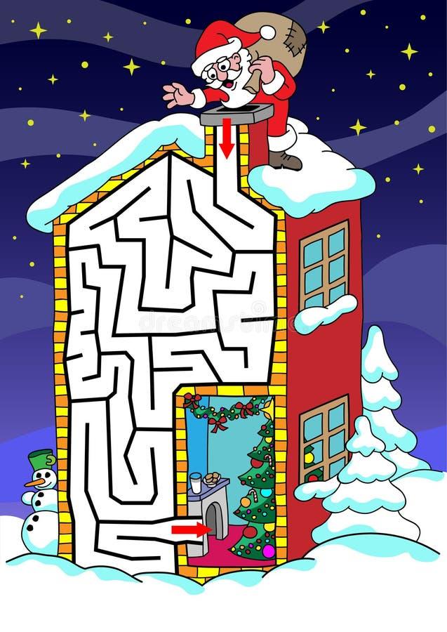 Santa Claus - labyrint för ungar stock illustrationer