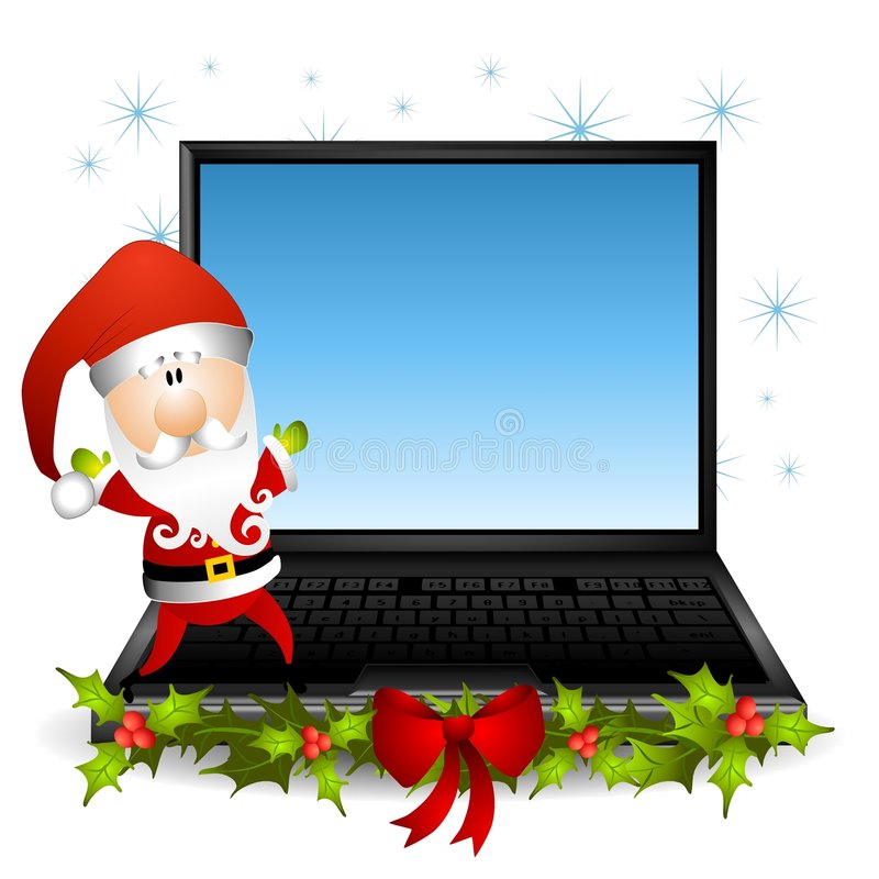 Santa Claus Laptop Computer 2 vector illustration