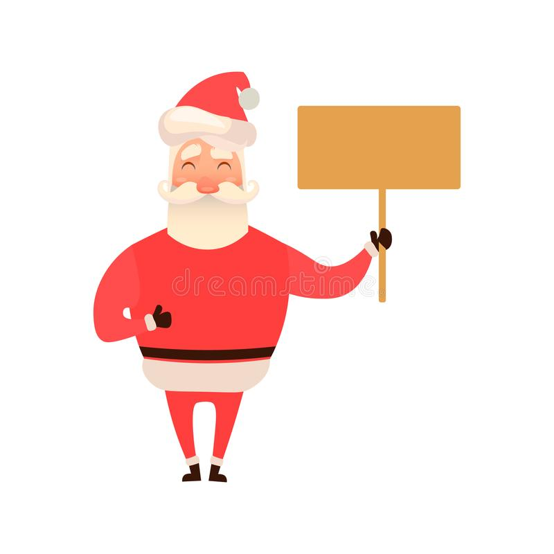Santa Claus laughing holding an empty board, sign. Character design. Vector illustration on white background. Flat and vector illustration