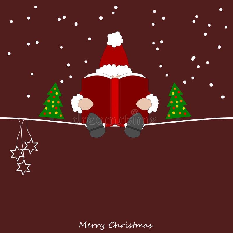 Santa Claus leest van zijn groot boek royalty-vrije illustratie