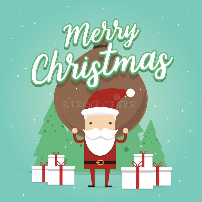 Santa Claus leva um saco pesado completamente dos presentes Cena dos desenhos animados Feliz Natal ilustração royalty free