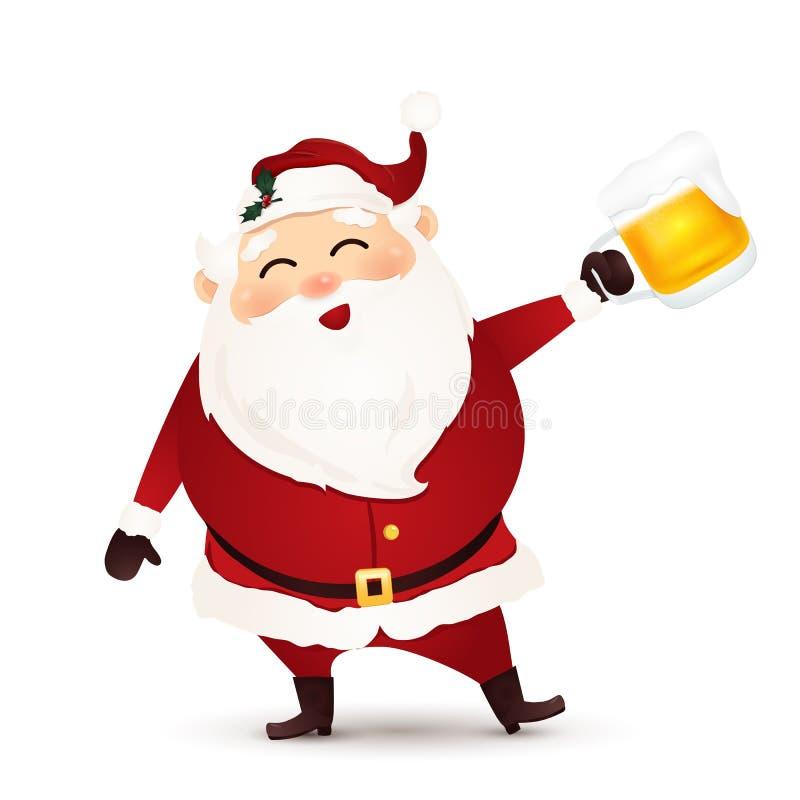 Santa Claus linda, divertida, feliz con la cerveza aislada en el fondo blanco El estilo Santa Claus de la historieta goza de un v stock de ilustración