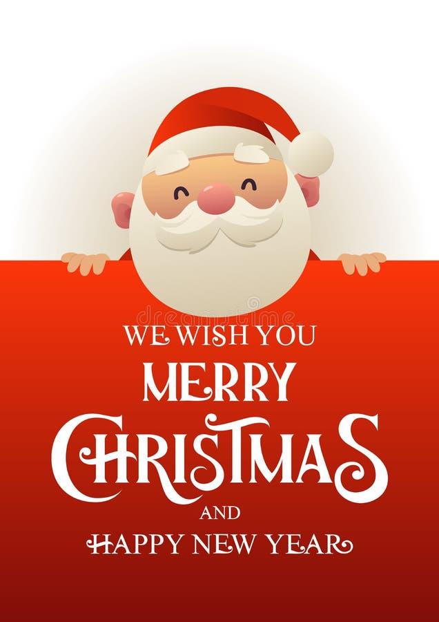 Santa Claus linda feliz se coloca detrás de bandera roja del anuncio del letrero con Feliz Navidad del texto y Feliz Año Nuevo ilustración del vector