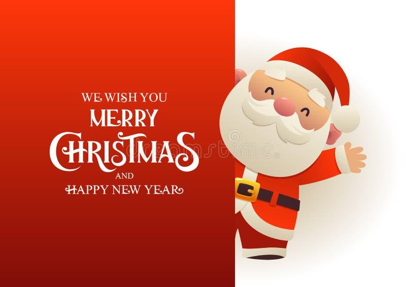 Santa Claus linda feliz se coloca detrás de bandera roja del anuncio del letrero con Feliz Navidad del texto y Feliz Año Nuevo libre illustration