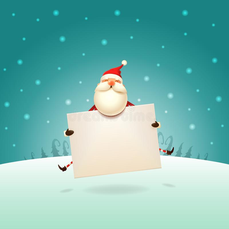 Santa Claus linda que salta con el tablero en paisaje del invierno - cartel de la plantilla de la Navidad stock de ilustración