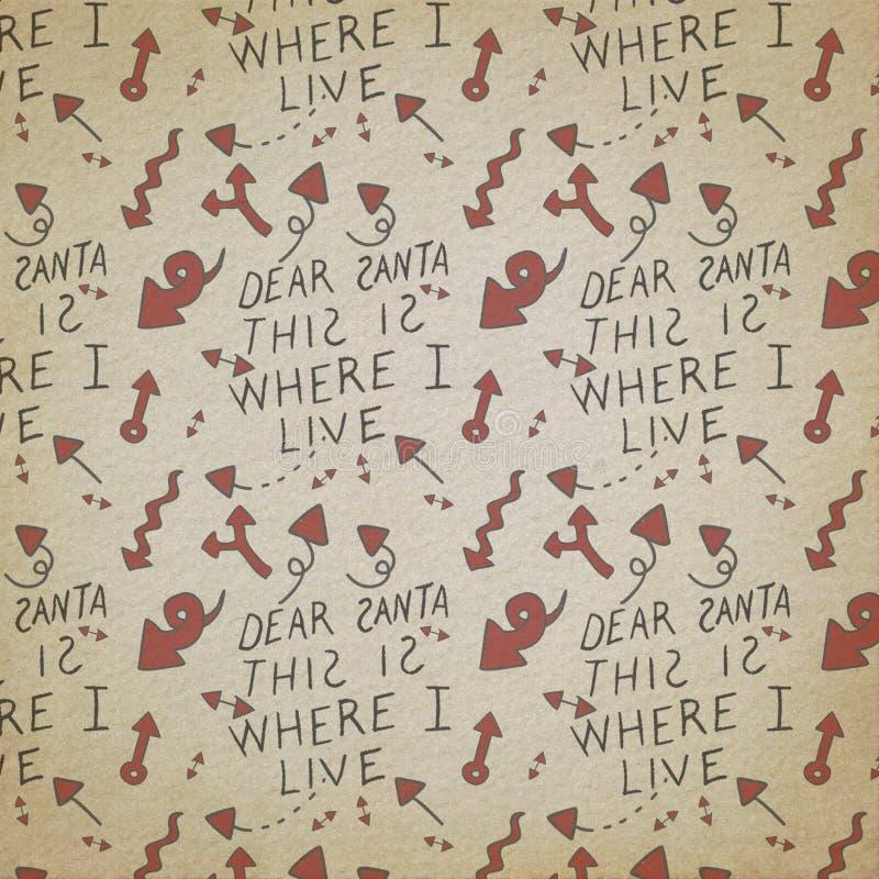 Santa Claus - lista di Natale - carta modellata festa - Natale d'annata afflitto rosso- nero- - che elabora - carte di Digital royalty illustrazione gratis