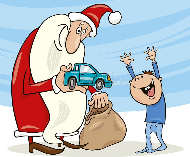 Download Santa claus and little boy stock vector. Image of gift - 17035752