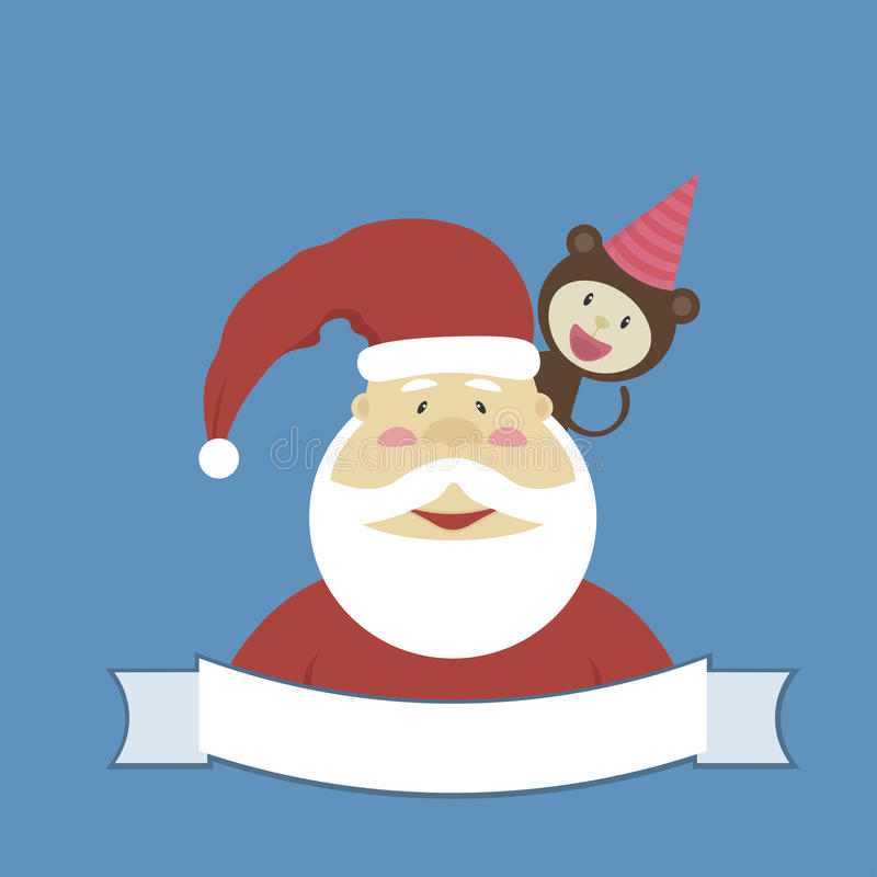 Download Santa Claus And Little Funny Monkey On His Shoulder For A Card At  Christmas Or