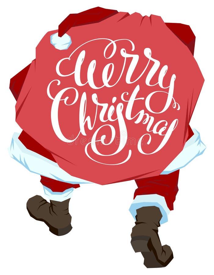 Santa Claus lleva el bolso con los regalos Feliz Navidad Texto de las letras para la tarjeta de felicitación ilustración del vector