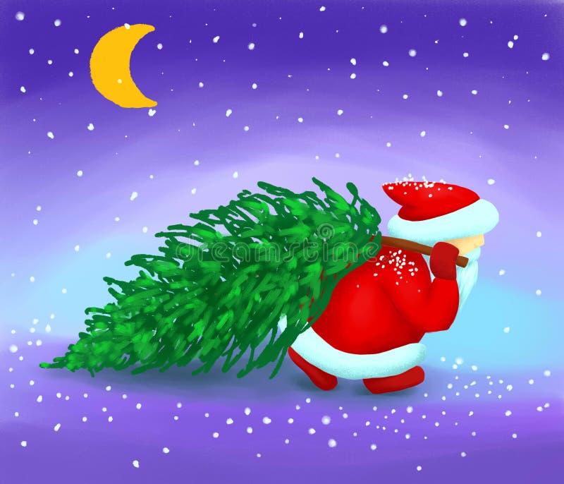 Santa Claus lleva un árbol de navidad en la nieve ilustración del vector