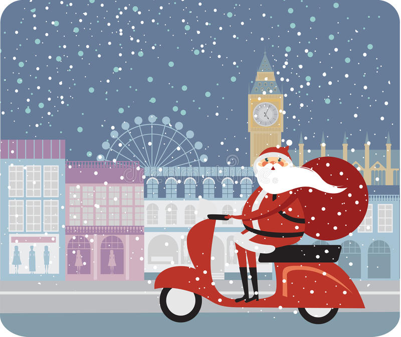 Santa Claus in London stock illustration