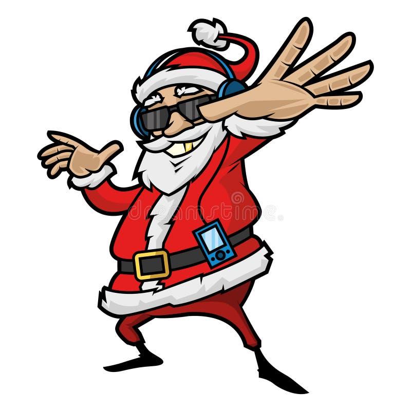 Santa Claus luistert aan speler vector illustratie
