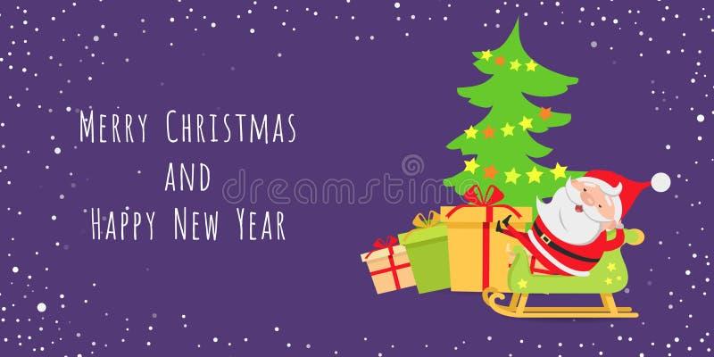 Santa Claus Lying en trineo cerca del árbol de navidad stock de ilustración