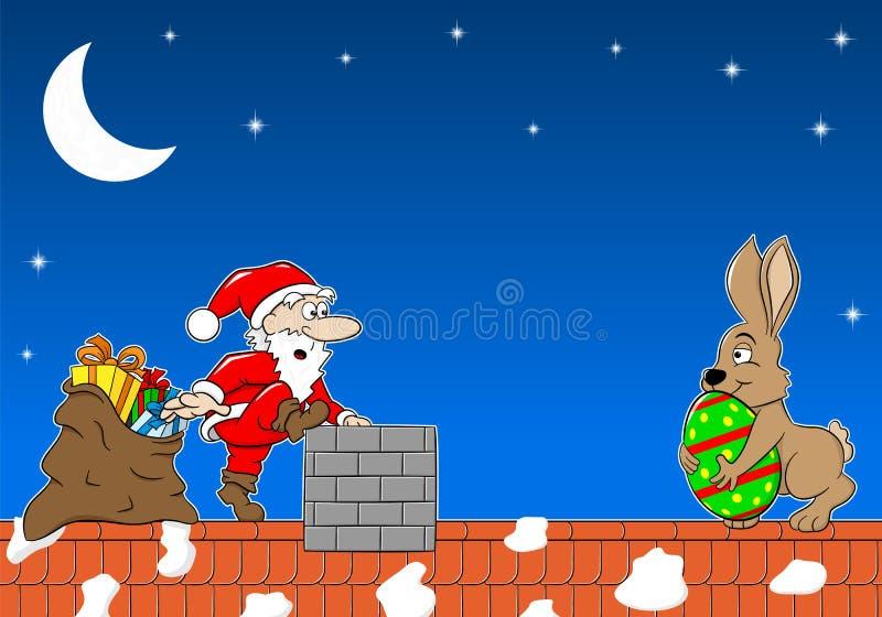 Santa Claus möter den easter kaninen på ett tak stock illustrationer
