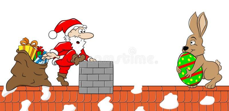 Santa Claus möter den easter kaninen på ett tak royaltyfri illustrationer