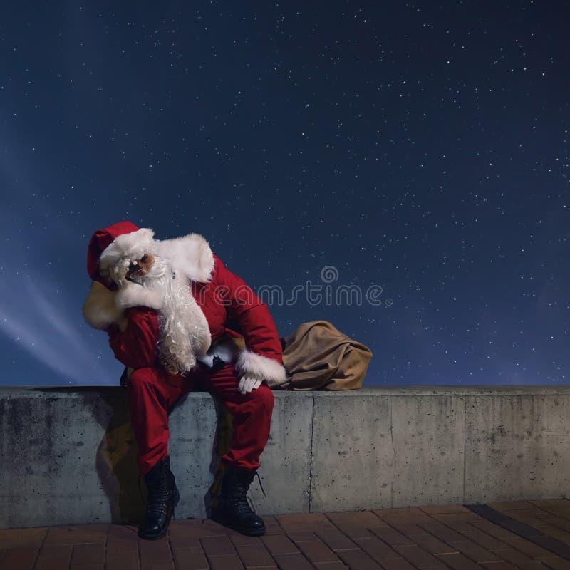 Santa Claus Magic Christmas night. Starry Night. royalty free stock images