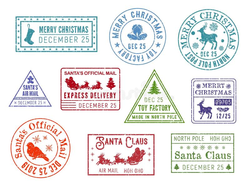 Christmas post, Santa Claus mail stamps royalty free illustration