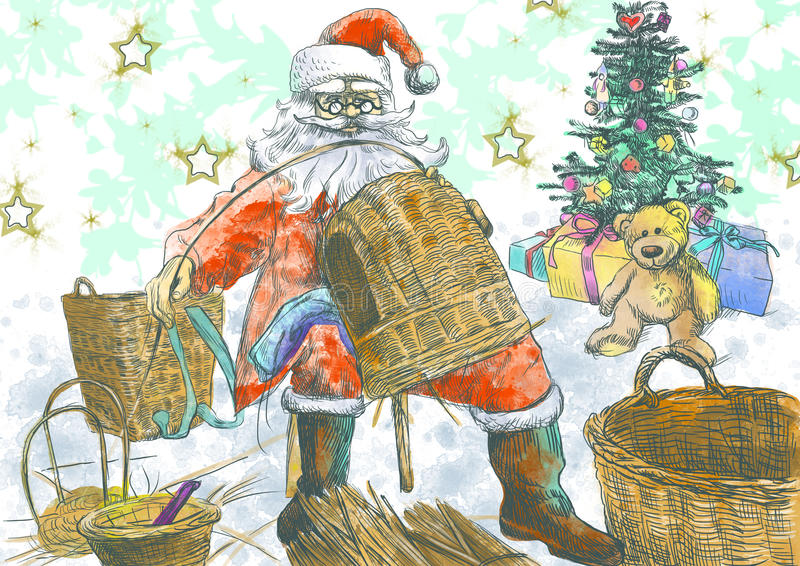 Santa Claus making baskets. Santa Claus himself made gifts - making baskets (handmade Christmas gifts are the best !) Full-sized (original) hand drawing stock illustration