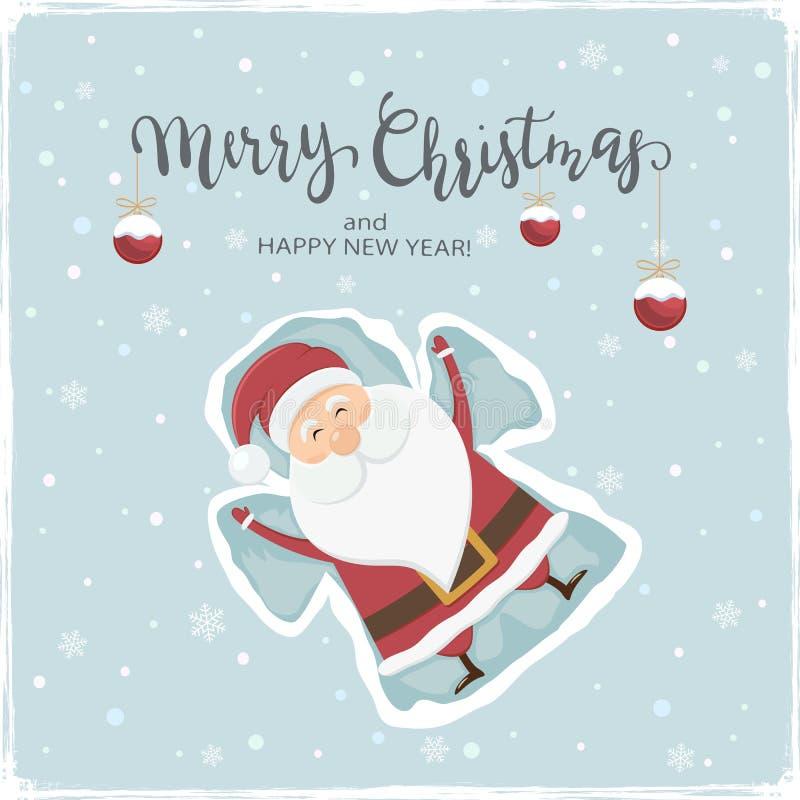 Santa Claus Making Snow Angel feliz ilustração do vetor