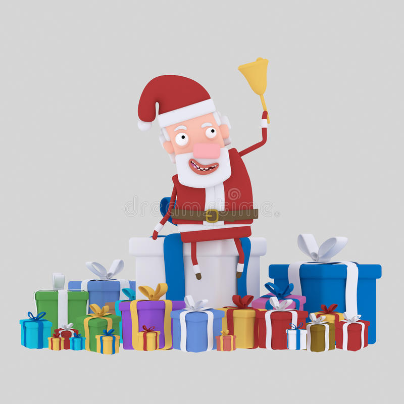 Santa claus with many gift. 3D royalty free illustration