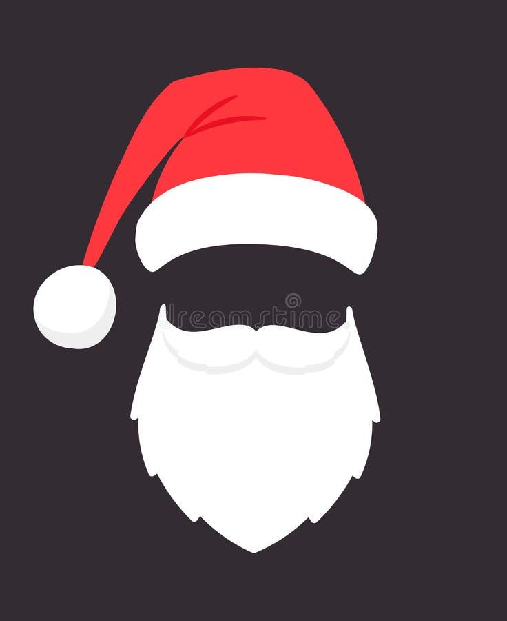 Santa Claus Mask Van de de partijmanier van de Kerstmiskerstman de fotogezicht met baard, snor en hoed, het hoofd van vakantiesin stock illustratie