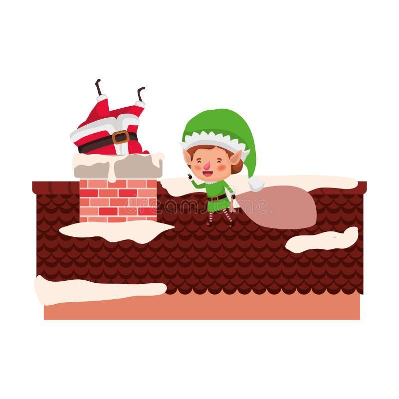 Santa Claus med älvan på takavatartecken vektor illustrationer