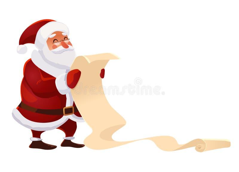 Santa Claus med den pappers- bokstavsönskelistan royaltyfri illustrationer