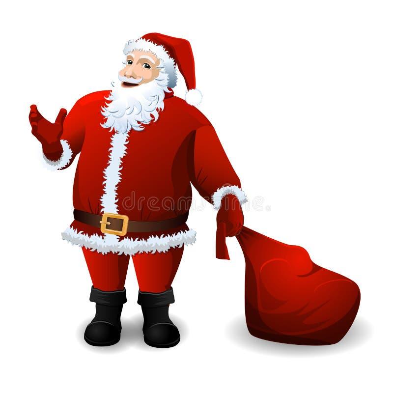 Santa Claus med den röda säcken över vit stock illustrationer