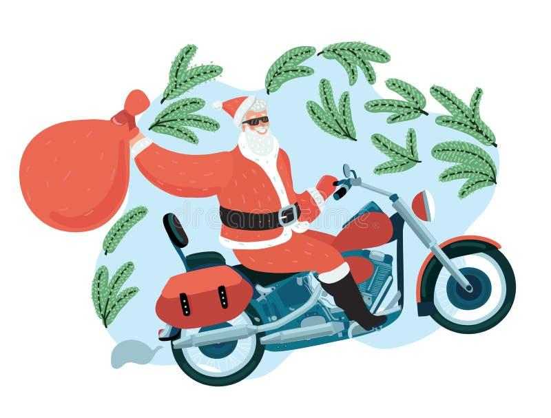 Santa Claus med en gåvasäck som rider en moped royaltyfri illustrationer
