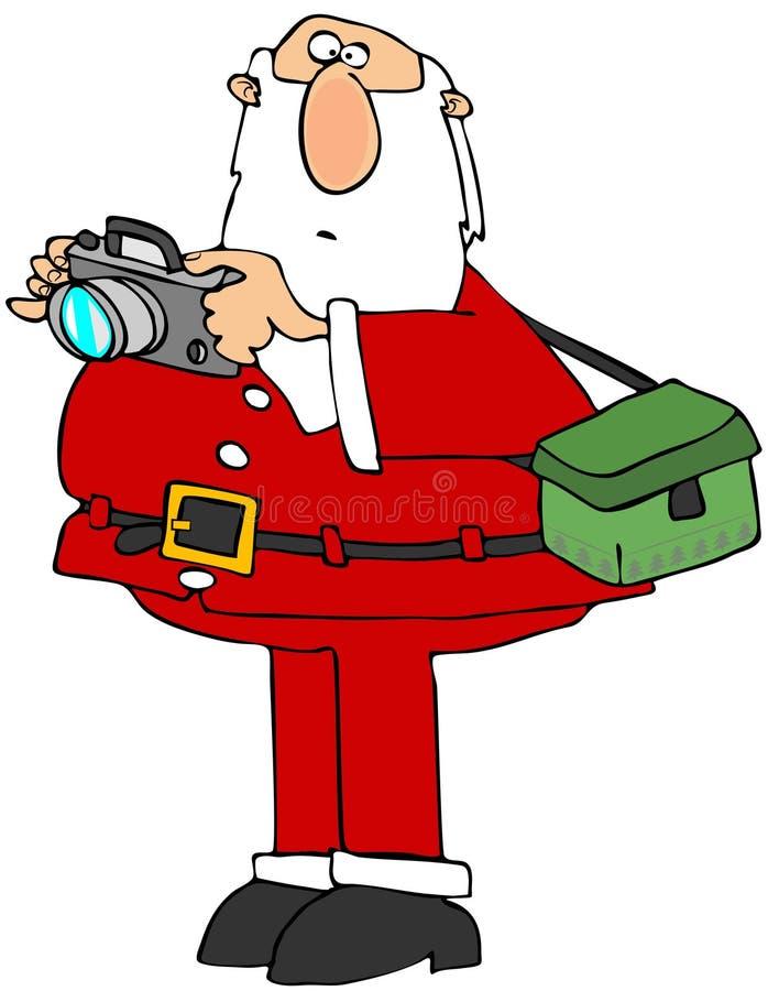 Santa Claus med en kamera vektor illustrationer