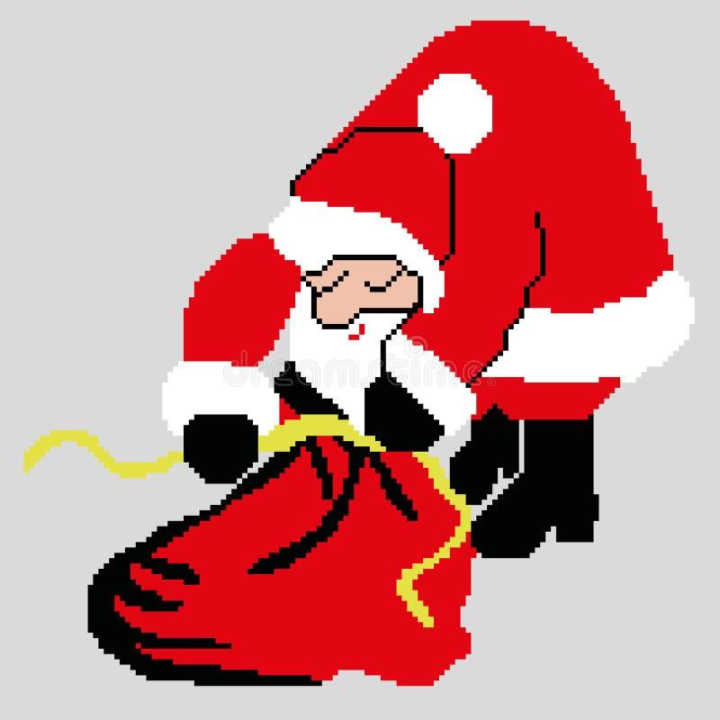Santa Claus Santa Claus med en påse av gåvor som dras av fyrkanter, PIXEL Lyckligt nytt år för hälsningkort också vektor för core stock illustrationer