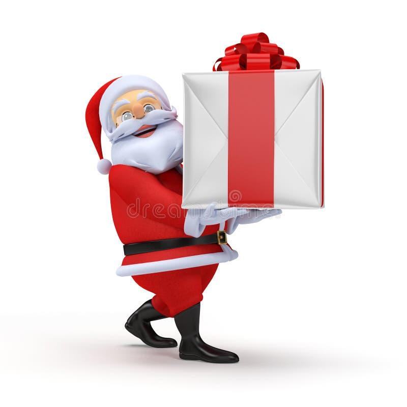 Santa Claus med en present stock illustrationer