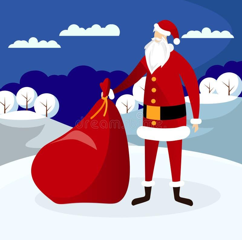 Santa Claus med enorma röda påsegåvor som kommer till staden royaltyfri illustrationer