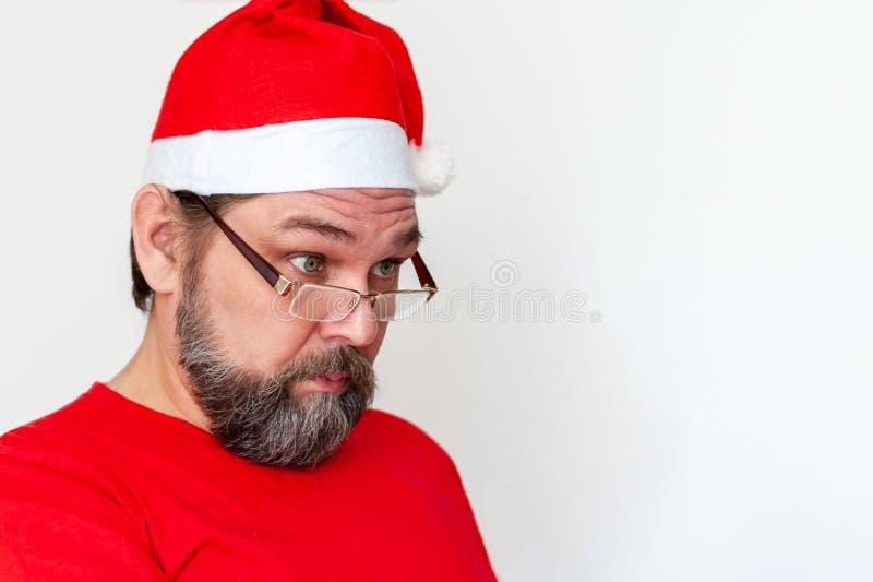 Santa Claus med ett mörkt skägg arkivbild